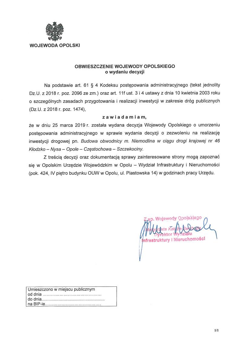 Obwieszczenie Wojewody Opolskiego z dnia 25.03.2019 r. o wydaniu decyzji.jpeg