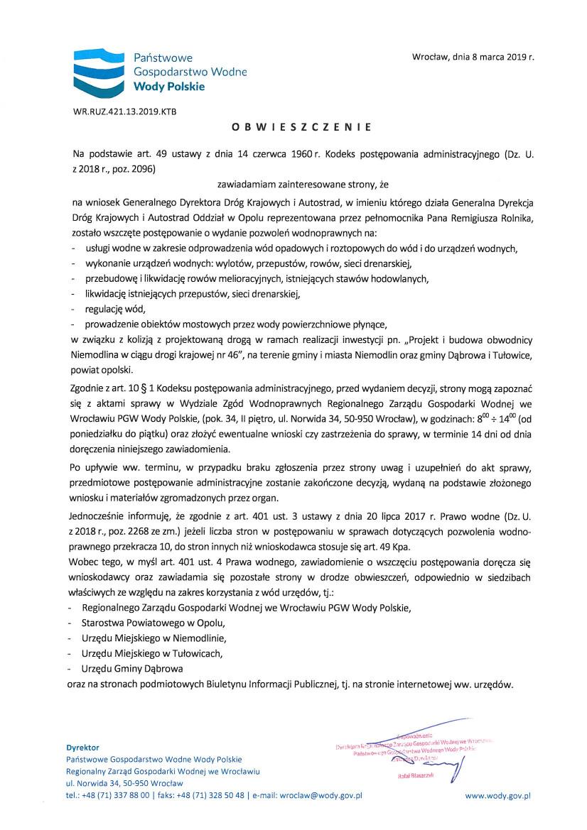 Obwieszczenie Państwowego Gospodarstwa Wodnego Wody Polskie z dnia 08.03.2019 r.jpeg